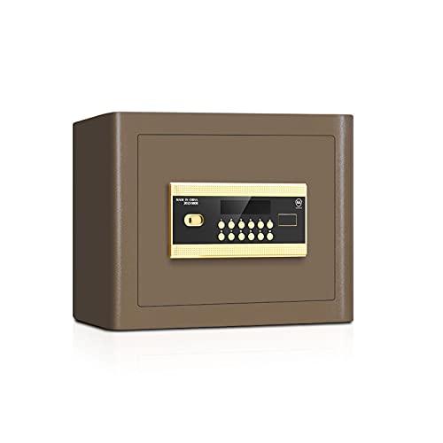 GLXYTT Caja De Seguridad, Caja Fuerte A Prueba De Agua con Teclado Digital, Teclado ElectróNico Programable para Dinero, JoyeríA, Pistola, Documentos En Efectivo,Marrón