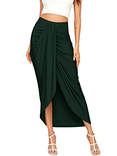 SheIn Women's Casual Slit Wrap Asymmetrical Elastic High Waist Maxi Draped Skirt Medium Dark Green