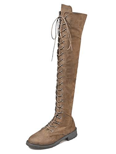 ShallGood Stiefel Damen Overknee Stiefel Flach Winter Flachen Wildleder Schnüren Plateau High Boots Winterschuhe Slim Blockabsatz Stiefeletten Dehnbar Stiefel Mode Khaki 39 EU