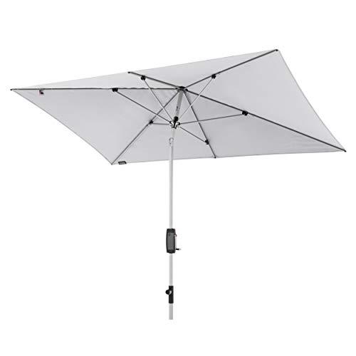 Knirps Sonnenschirm Automatic - Rechteckiger Kurbelschirm - Modernes Design - Starker UV-Schutz - 260x165 cm - Hellgrau