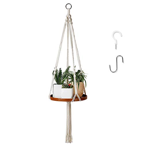 POTEY 609102 Macrame Plant Hangers - Hanging Plant Shelf for Boho Home Decor, Plant Hanger Shelf...