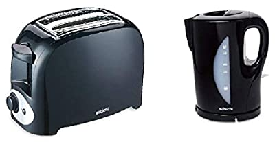 Electric Cordless JUG 1.7L Kettle and 2 Slice Toaster Kitchen Set Gloss Black