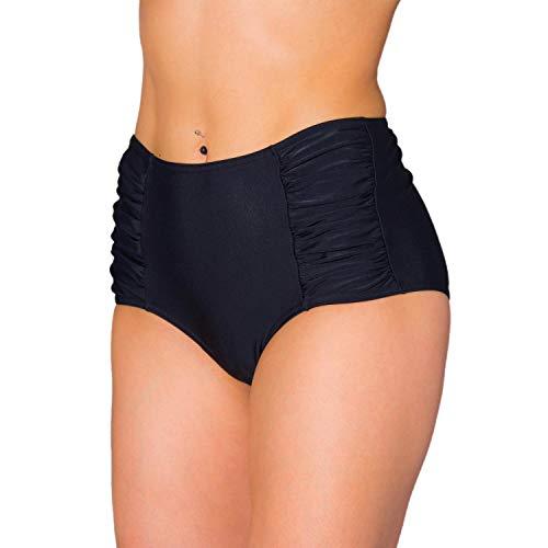 Aquarti Damen Bikinihose mit Hoher Taille und Raffung, Farbe: Schwarz, Größe: 40