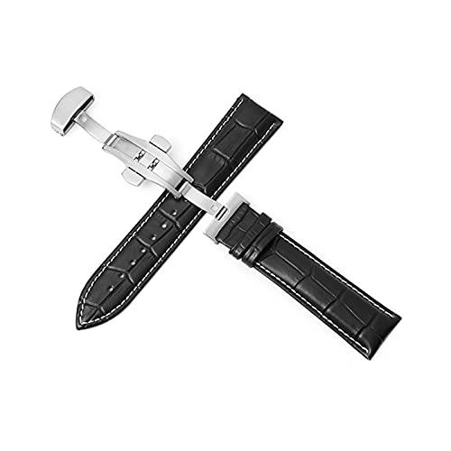 PZZZHF Cuerdas de Reloj de Cuero Genuino 12-24mm Reloj Universal Banda de Hebilla de Mariposa Strap de Hebilla de Acero 22mm Reloj Banda (Band Color : Silver-Black-White, Band Width : 23mm)