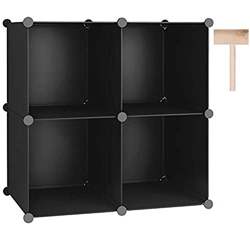 C&AHOME Cube Storage Organizer, 4-Cube Shelves Units, Closet Cabinet, DIY Plastic Modular Book Shelf, Ideal for Bedroom, Living Room, Office, 24.8' L x 12.4' W x 24.8' H Black