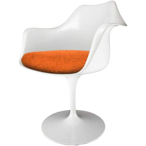 Eero Saarinen poltrona bianca e strutturata in stile tulipano arancione