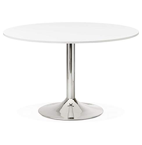 Alterego - Table de Bureau/à Diner Ronde 'SAOPOLO' Blanche - Ø 120 cm