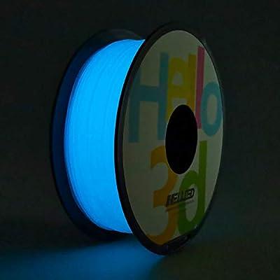 Hello3D PLA 3D Printer Filament, Glow in The Dark Blue Filament 1.75mm, Glowing 3D Printing Filament 1KG (2.2Lbs) 1 Spool OEM Luminous Blue