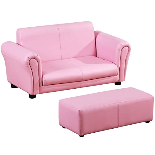 HOMCOM Kindersessel mit Fußhocker, Kindercouch mit Hocker, Kindersofa, Sofa Sessel, Rosa