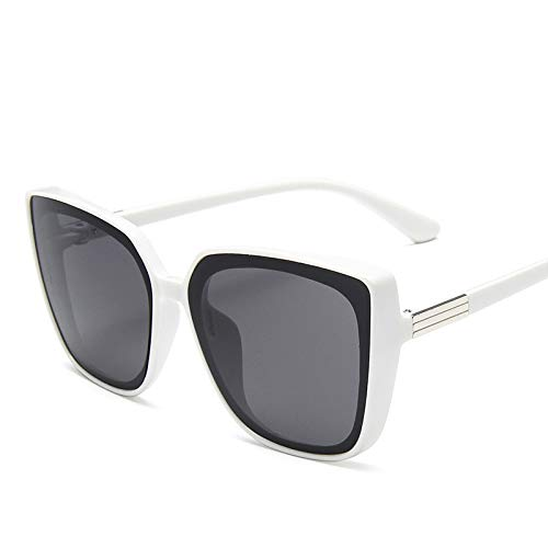 Gafas de Sol Moda plástico Gato Ojo Mujer de Gran tamaño Gafas de Sol Retro Espejo Gafas de Sol para Mujer UV400 Gafas de Sol de Moda Vintage (Lenses Color : White)