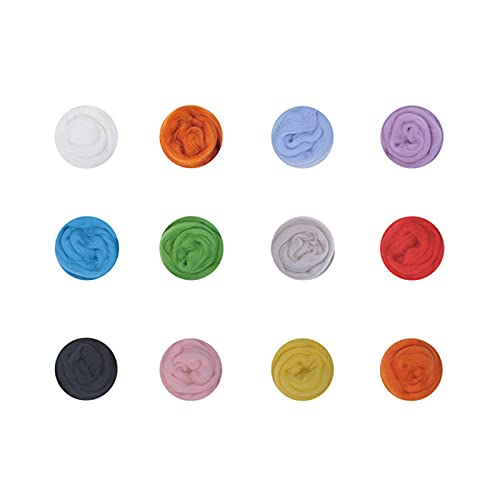 CXDSMX Lana De Fieltro 50G Fieltro De Lana Varios Colores Lana Cardada Peinada Needle Felting Kit...