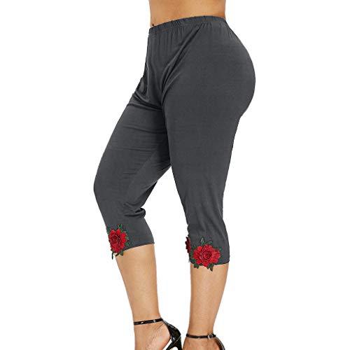 Weant Sporthose Damen Yogahose mit Rose Stickerei Laufhose Fitnesshose Yoga Sport Leggings Sports Hose Freizeithose High Waist Sports Pants Trainingshose für Fitness, Yoga, Wandern, Gym, Tanzen