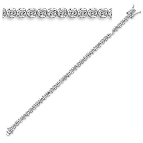 Pulsera 'Rivière De Diamants'blanco de plata (rodio)- 18 cm 5 mm.