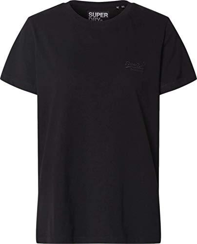 Superdry Damen OL Elite Crew Tee T-Shirt, Schwarz (Black 02A), L (Herstellergröße:14)