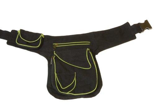 KUNST UND MAGIE Goa Schulter/Bauchtasche Gürteltasche Bauchgurt Hippie Psy Zweifarbig, Farbe:Schwarz/Grün