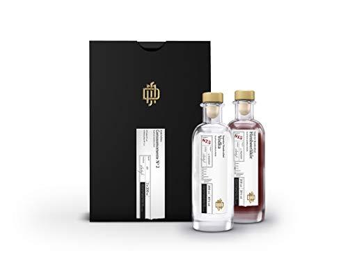 GESCHENKBOX Genussmomente No 2 mit DSM Vodka 40% vol und DSM Himbeerlikör 20% vol (je 0,2 l)