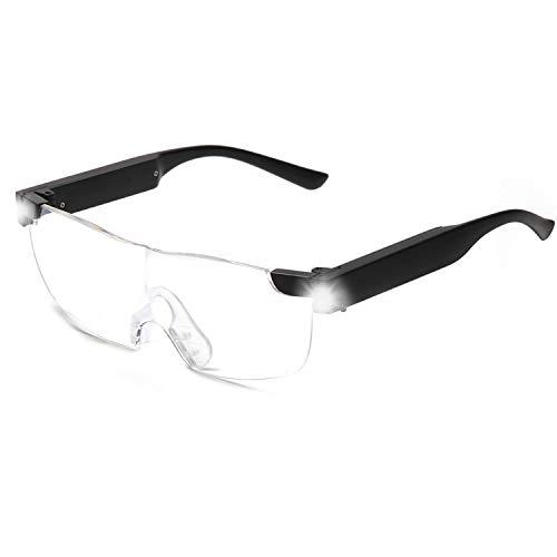 SKYWAY Lupenbrille mit Licht, 200{ffea6e99c8caebda4087178d107055a6f732204ff81842f2e6e9831931c95750} LED beleuchtete wiederaufladbare Lupenbrillen zum Lesen von Hobbys und zum Arbeiten, Big Vision Brillen