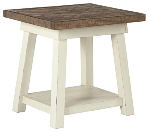 Signature Design by Ashley - Stowbranner Farmhouse Rectangular End Table, White/Brown