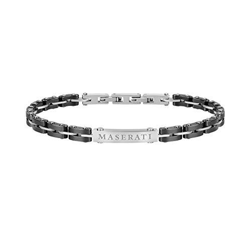 Bracciale da uomo, Collezione Maserati Jewels, in acciaio e ceramica - JM219AQH10