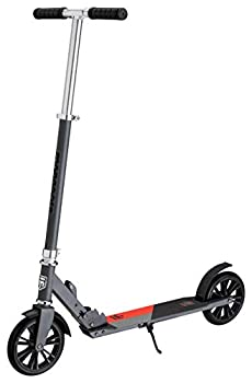 Mongoose Trace Youth/Adult Kick Scooter Folding and Non-Folding Design Regular Lighted and Air Filled Wheels Multiple Colors Grey/Red  180mm Wheels