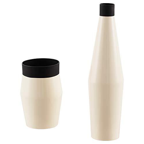 IKEA.. 203.941.24 Glittrig Vase, Set of 2, Ivory, Black