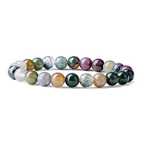 Pulsera de tourmalina de tourmalina Natural Perlas de Cuentas Redondas Pulsera Redonda Colorida joyería Yoga elástica para Hombres Mujeres Pulsera (Tamaño : 6mm)