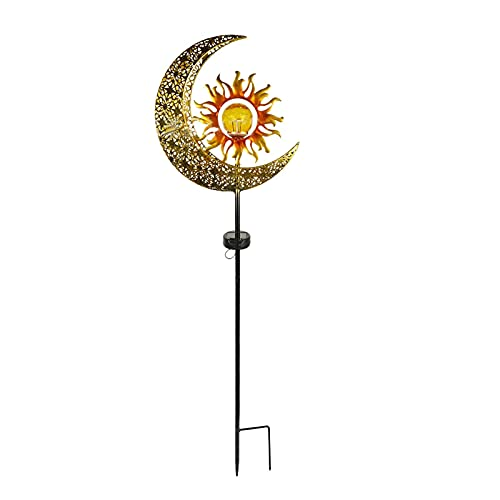 Luces de jardín de Luna con energía Solar, luz de césped Solar Hueca de Luna, Luces de Paisaje talladas en Huecos para Patio, Camino, césped, Decoraciones de Patio