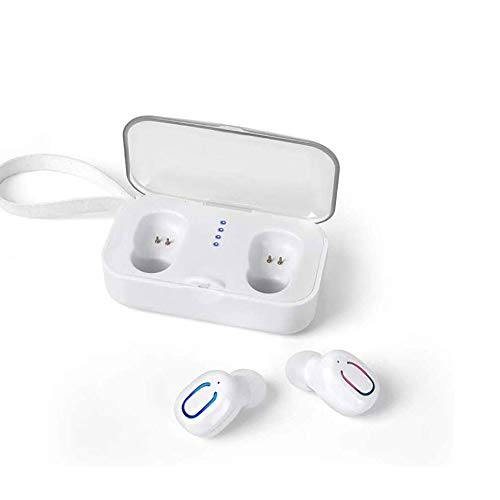 LKNJLL Auriculares Bluetooth Wireless TWS Auriculares estéreo Bluetooth 5.0 Auriculares Deportes IPX7 Impermeable Auriculares inalámbrico con 400 Mah Estuche Cargador/Caja (Color : White)