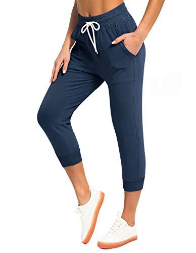 SPECIALMAGIC Pantaloni da donna in cotone da atletica Capri Joggers elastico in vita allenamento sport pantaloni con tasche Marina Militare L