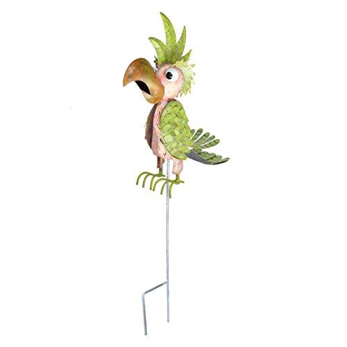 Unbekannt Wetterfester Metall-Gartenstecker Kakadu ''Meister'' von Medusa |weiß-rot-grün | 102x20x54 cm | mit Flügelklappe