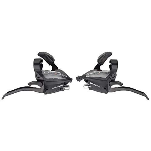 SHIMANO ST-EF500-4 Bicycle Shift/Brake Lever Set - 3 x 7 Speed, EZ-Fire Plus, 4F-Alloy, for V-Brake - Black - ESTEF5004PV7A3