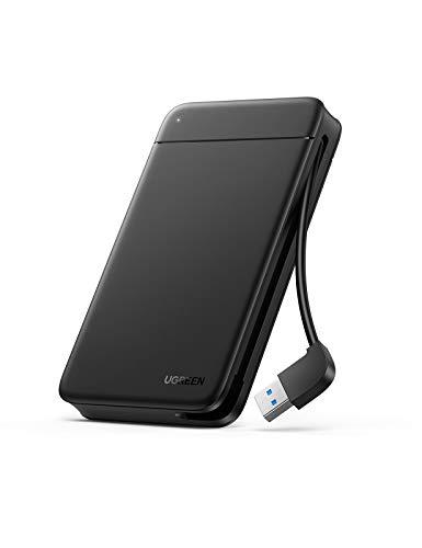 UGREEN Festplattengehäuse USB A 3.0 Externes Festplatten bis zu 5Gbps Gehäuse für 2,5 Zoll SSD und HDD in Höhe 9.5mm 7mm UASP Festplatten Versteckbarem USB 3.0 Kabel, werkzeuglos