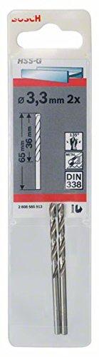 Bosch Professional Metallbohrer HSS-G geschliffen (2 Stück, Ø 3,3 mm)