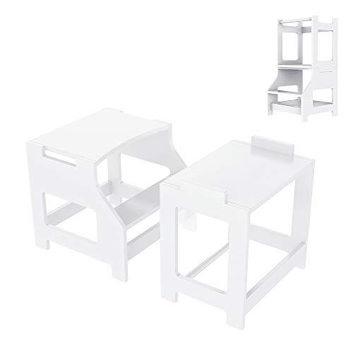 Küchenhocker für Kinder lernen, Tritthocker Lernturm Kinder Schemel aus Holz in Tisch & Stuhl Set, Kindermöbel Learning Tower, Toilettenhocker Treppchen mit 2 Stufen Swubi(Weiß)