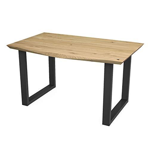 MÖBEL IDEAL Esstisch York - Eiche Massivholz in Natur geölt U - Gestell in Schwarz Tisch mit Multi Edge Kante - 90 x 140 cm