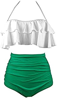 BEESCLOVER Women High Waist Swimsuit Halter Bikinis Set Swimwear Ruffle Bandeau Bottom Bathing Suit