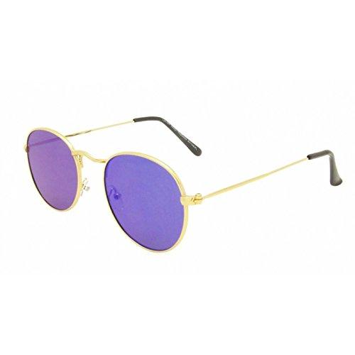 Chic-Net hoogwaardige zonnebril rond vintage goud 400UV gespiegeld platte glazen brug hoog