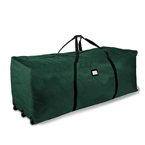 ProPik Holiday Rolling Tree Storage Bag, Extra Large Heavy Duty Storage Container, 28' H X 16.5' W X 60' L with Wheels & Handles Fits Up to 9 Foot Tall Disassembled Trees 600D Oxford (Green)