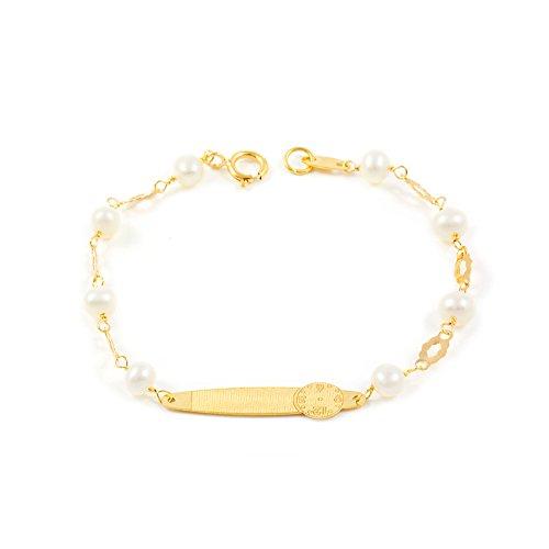 Monde Petit G1224PU - Pulsera Bebe Oro 18 Kts. chapa hora nacimiento y perlas