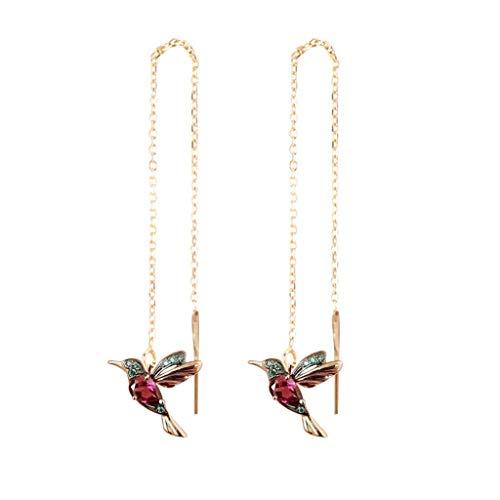 Élégantes boucles d'oreilles à tige en forme de colibri avec strass et zircon bleu - Pour femme, Argent sterling,