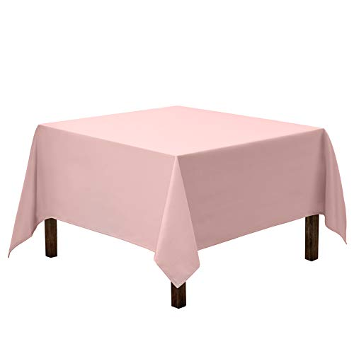 Gee Di Moda Square Tablecloth - 70 x 70 Inch - Pink Square Table Cloth for Square or Round Tables in Washable Polyester - Great for Buffet Table, Parties, Holiday Dinner, Wedding & More
