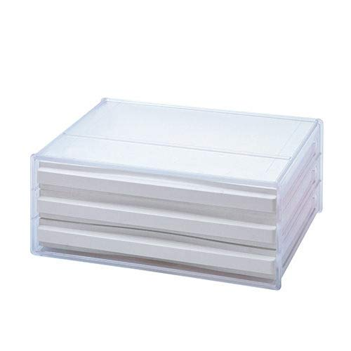 livinbox DDH-103-CR 書類トレー A4ヨコ型 レターケース 書類収納 (3段)-透明 (本体:透明 引き出し:ホワイト)