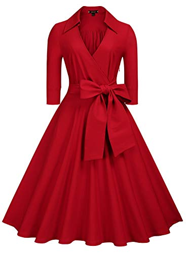 Miusol Women's Deep-V Neck Classical Bow Belt Vintage Casual Swing Dress (X-Large, A-Red)