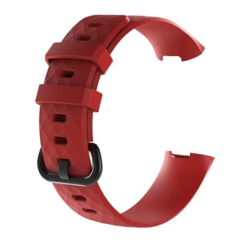 G-RF Bandas De Reloj para Fitbit Charge3/ Charge4 Hebilla De Silicona Negra Correa (S,Rojo)