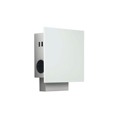 WIPO 42410102200 Power Quad G Edelstahl/Glas weiß, 3X Schukosteckdose, 2 x USB-Lochabstanddebuchse