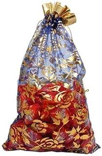 evisha 25 Pieces net jari potli Pouch Bag Blue -Size 23x16 cm- Multi Color