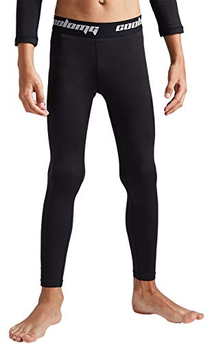 COOLOMG Boys Girls Thermal Compression Pants Base Layer Tights Sports Fitness Running Black M