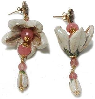 Orecchini donna fiori rosa: mandorlo. Gioielli in Ceramica Artigianali dipinti a mano, made in italy