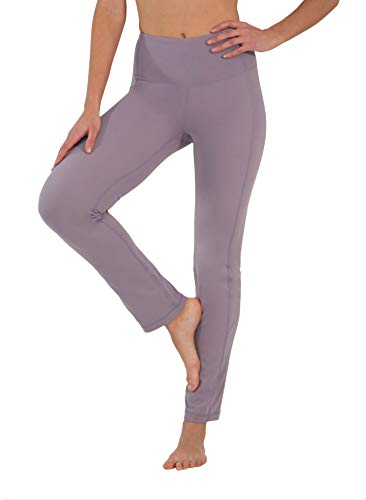 Yogalicious High Waist Soft Nude Tech Straight Leg Yoga Pants for Women - Frosted Lilac - Medium