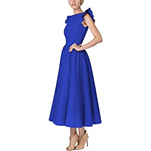 YMING Women's Midi Dress Sleeveless Swing Dress Vintage Cocktail Dress Ruffle Dress,Blue,XS